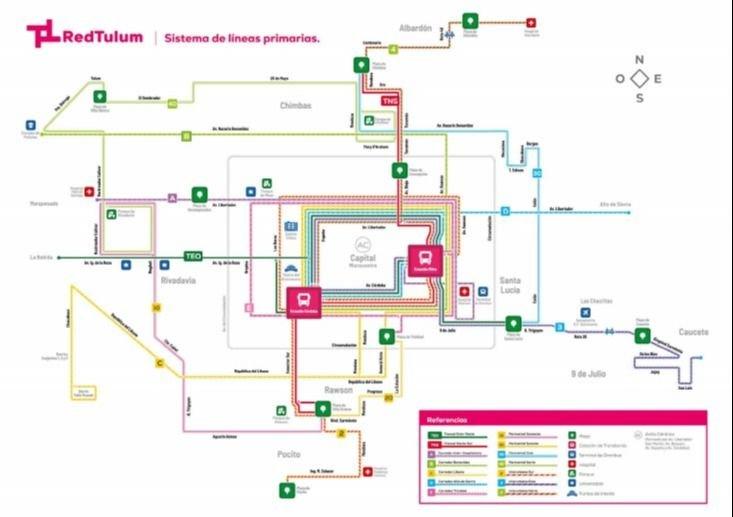 La red primaria fue la primera en tener mapa y el web redtulum.com.ar hay uno interactivo. Estas son las líneas totalmente nuevas.